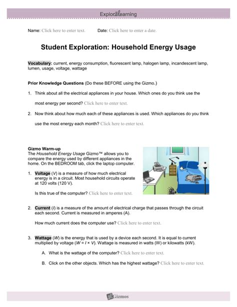 Explore Learning Household Energy Usage Answer Key