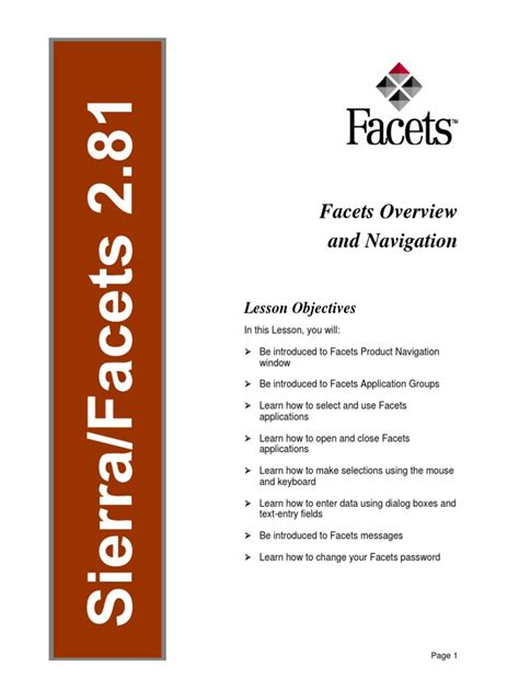 Facets Overview And Navigation User Guide