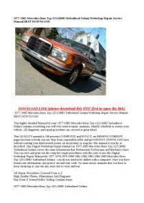 Factory Service Manual 123 300d Mercedes