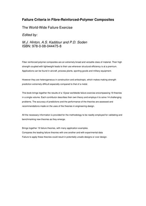 Failure Criteria in Fibre-Reinforced-Polymer Composites: The World-Wide Failure Exercise