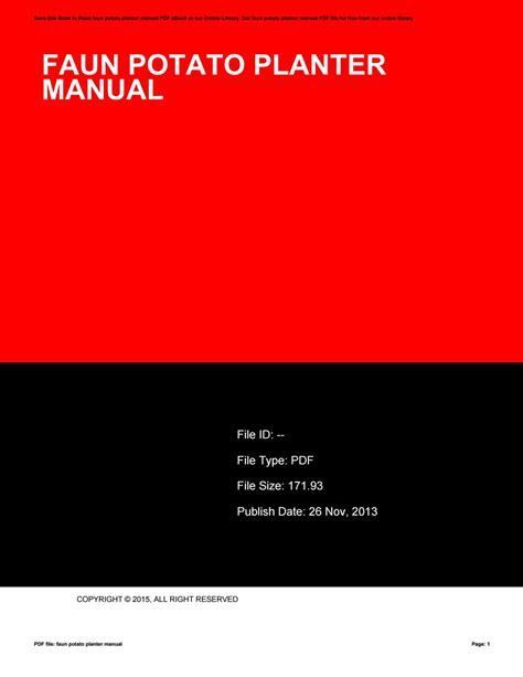 Faun Potato Planter Manual