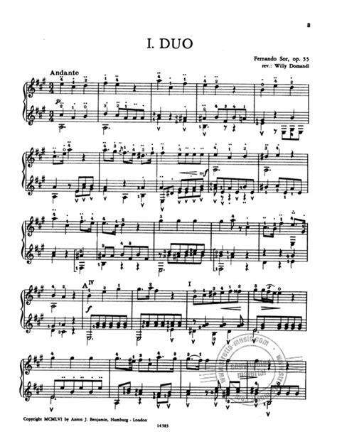 Ferdinand Sor 3 Easy Duos Op 55 Partitions Pour Guitare Duo