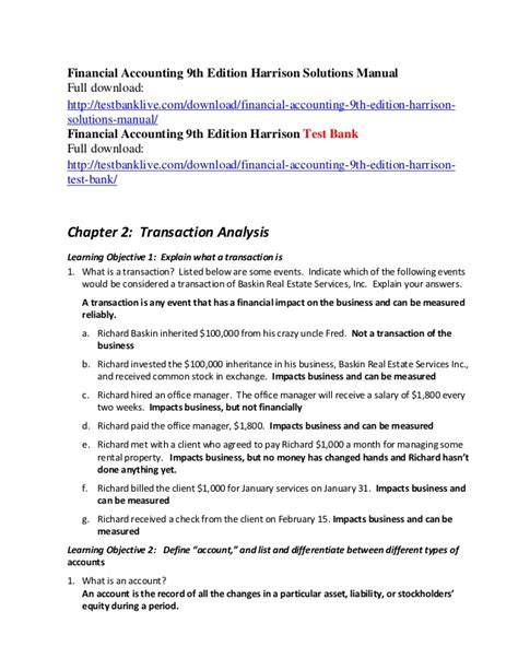 Financial Accounting Harrison 9th Edition Solution Manual