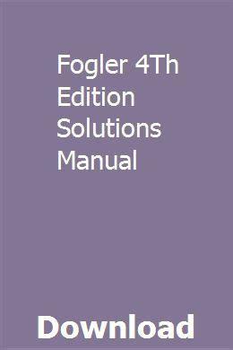 Fogler 4th Solution Manual