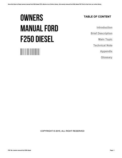 Ford F250 Diesel Owner Manual