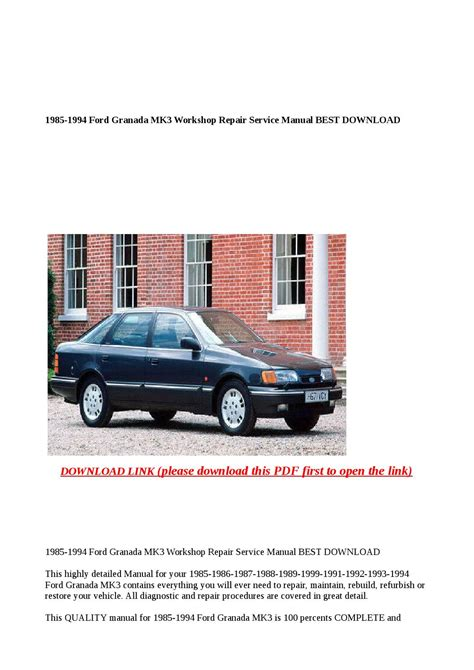 Ford Granada 1993 Full Service Repair Manual