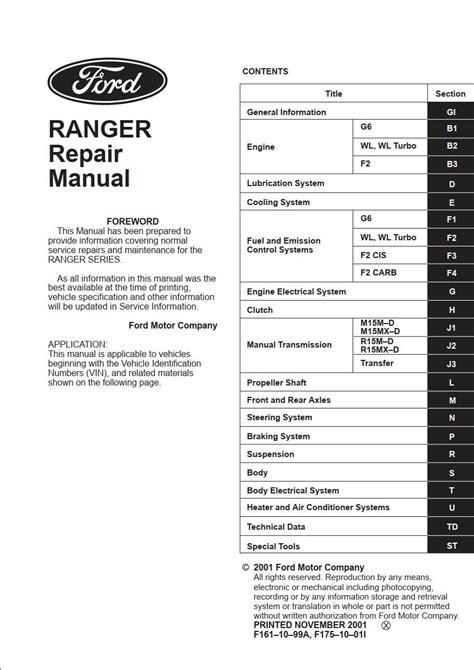 Ford Ranger Workshop Repair And Service Manual 2000 2003