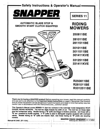 Free Snapper Repair Manual Sr1030