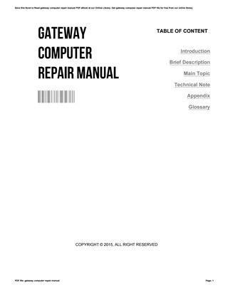 Gateway Computer Manuals