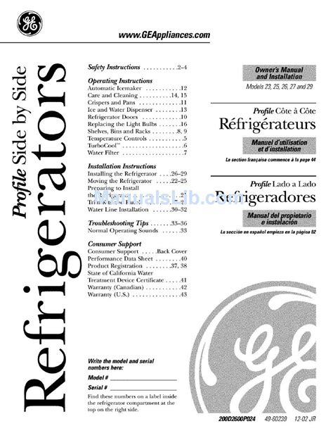 Ge Profile Refrigerator Pss29nh Service Manual