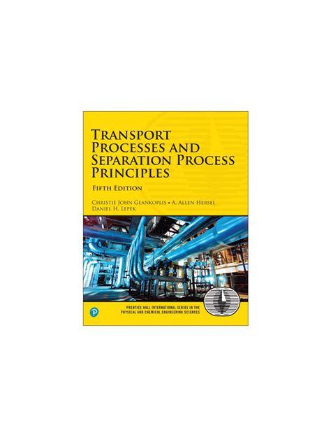 Geankoplis Transport Processes Solution Manual