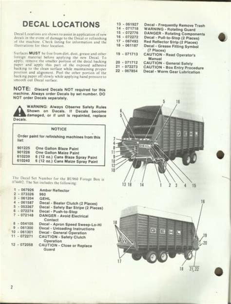 Gehl Bu960 Forage Box Parts Manual
