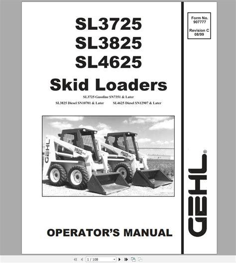 Gehl Sl3725 And Sl3825 Parts Manual Edition 2000