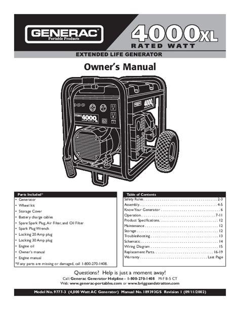 Generac 4000xl Generator Engine Manual