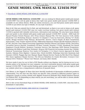 Genie Model Gwk Manual