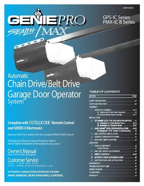 Genie Pro Max Owners Manual