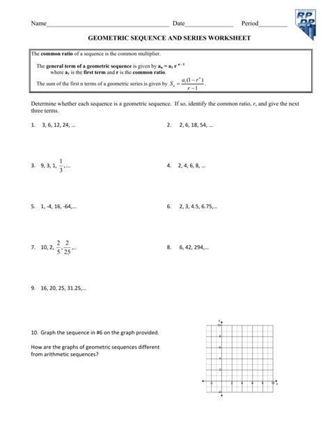 Geometric Sequences Worksheets With Answers