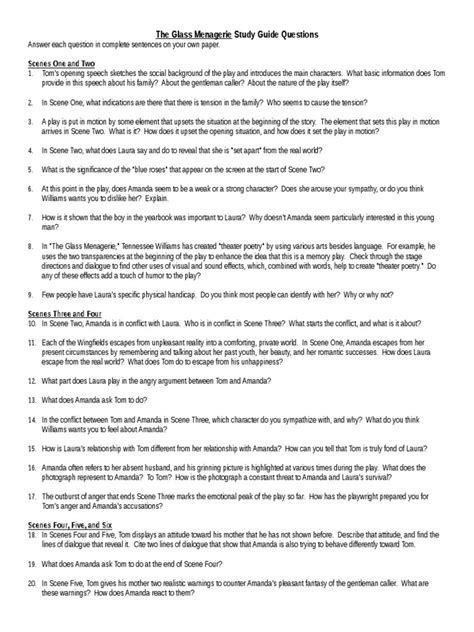 Glass Menagerie Study Guide Questions Answers