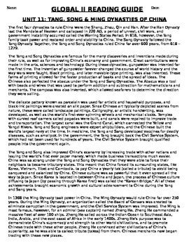 Global Studies 9th Grade Study Guide