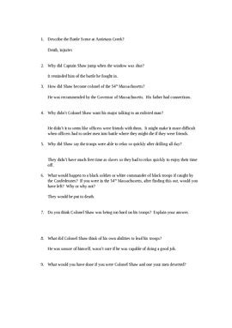 Glory Movie Study Guide Answer Key