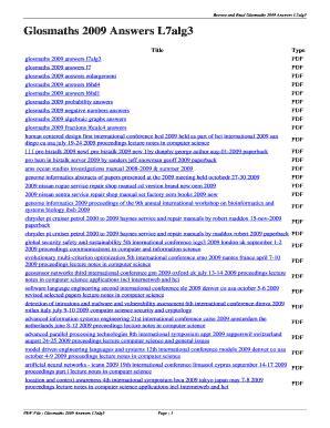 Glosmaths 2009 Answers