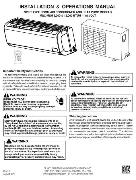 Goodman Tstatg3272 Install Manual