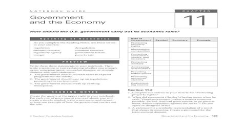 Government And The Economy Notebook Guide Answers