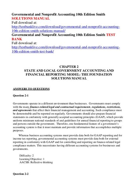 Governmental And Nonprofit Accounting Solution Manual 10th