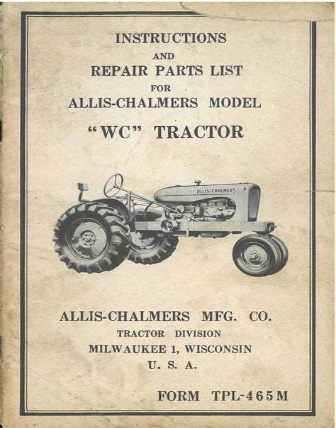 Grande Chalmers Wc Tracteur Operateurs Manuel