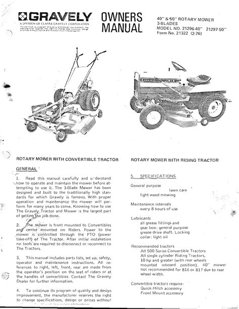 Gravely Lawn Mower Owners Manuals