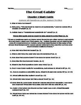 Great Gatsby Study Guide Answers Gatsby Packet