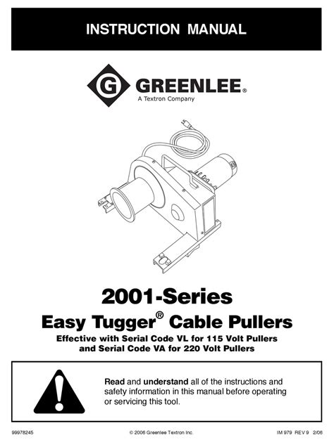 Greenlee 885te Instruction Manual