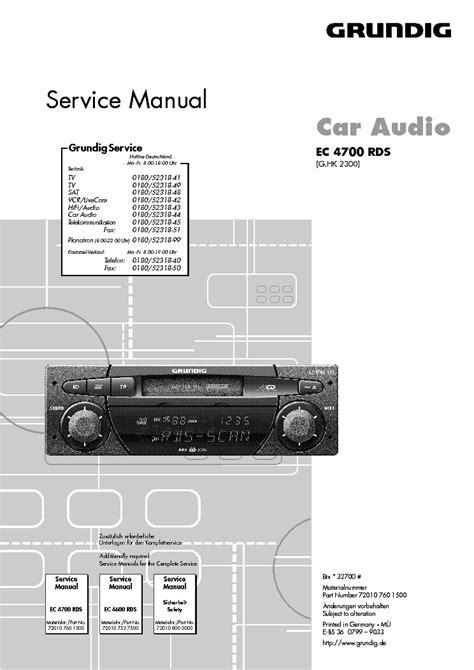 Grundig Ec 4700 Rds Car Audio Repair Manual