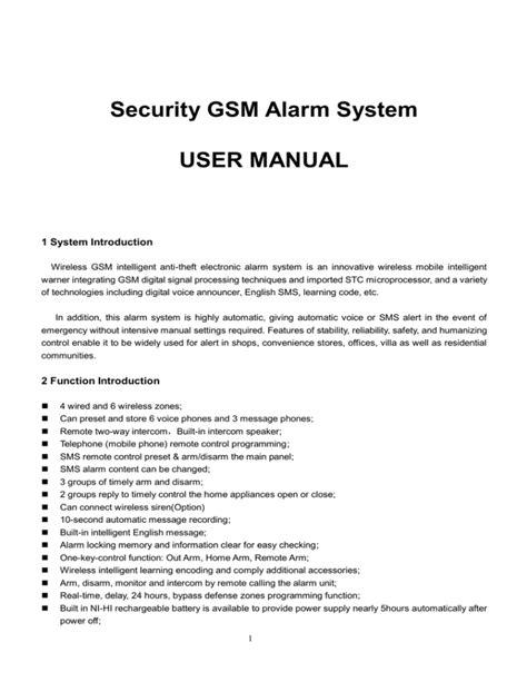 Gsm Alarm System User Manual