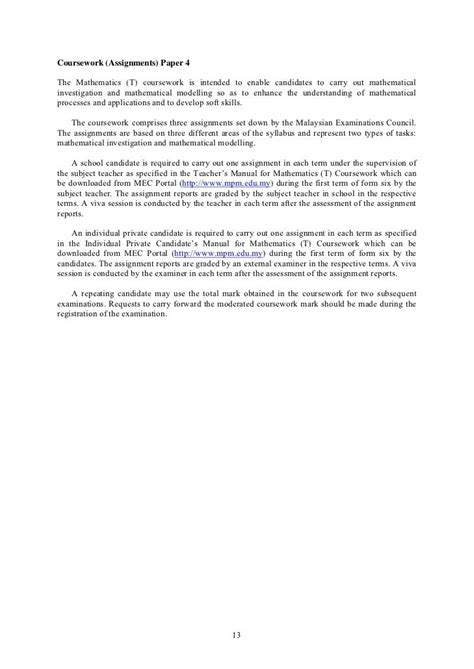Guide For Assignment Report Math T Coursework