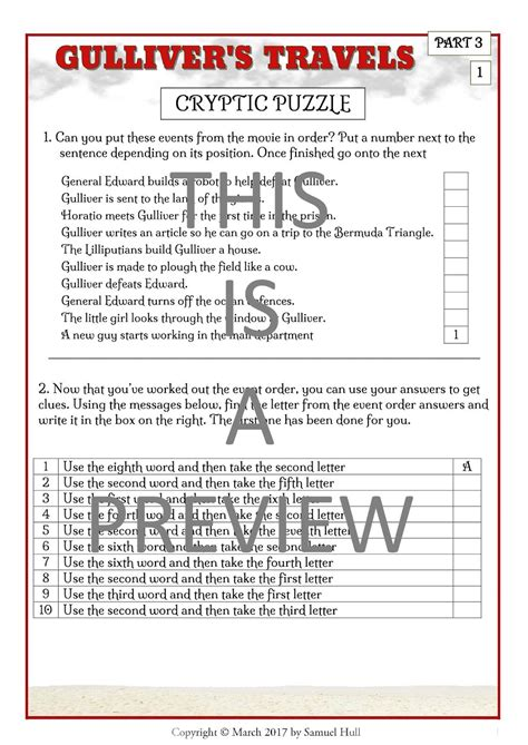 Gulliver Travels With Answer Key