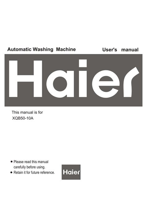 Haier Xqb50 10a Washing Machine Service Manual