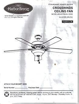 Harbor Breeze Cross Wind Ceiling Fan Manual
