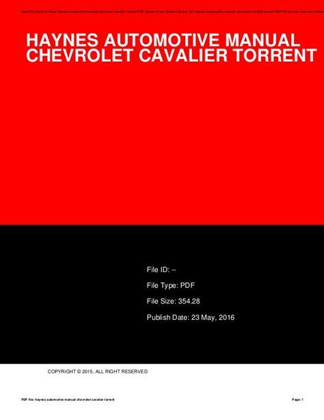 Haynes Manual 2015 Chevy Cavalier