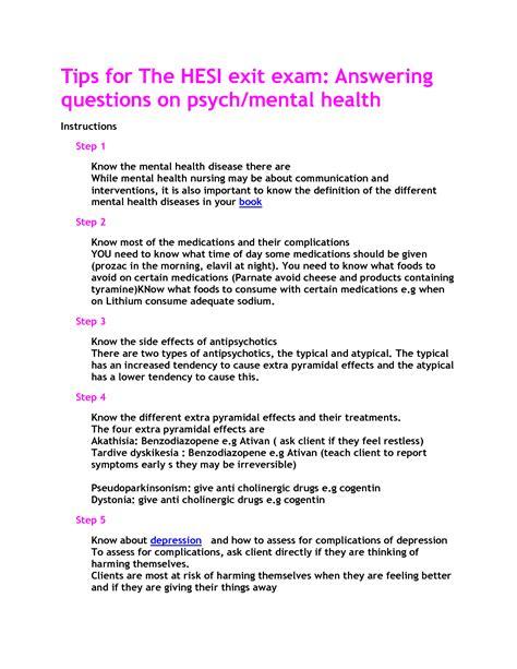 Hesi Mental Health Nursing Study Guide