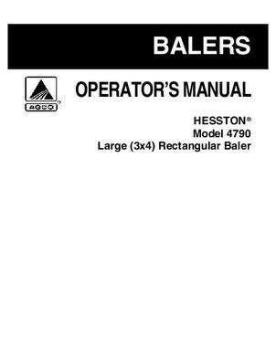 Hesston 4790 Baler Repair Manual
