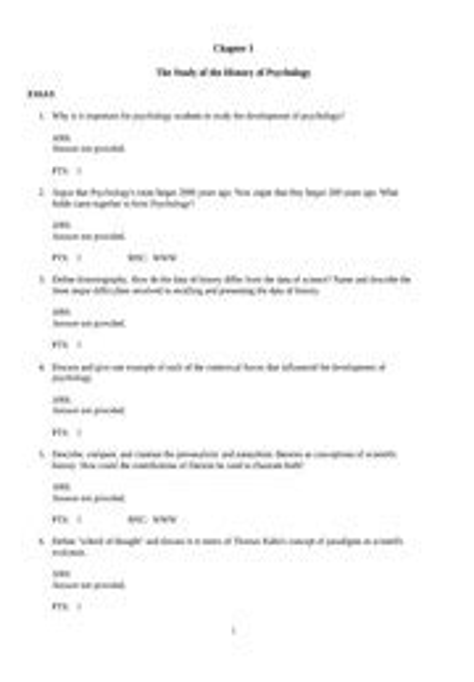 History Of Modern Psychology Paper