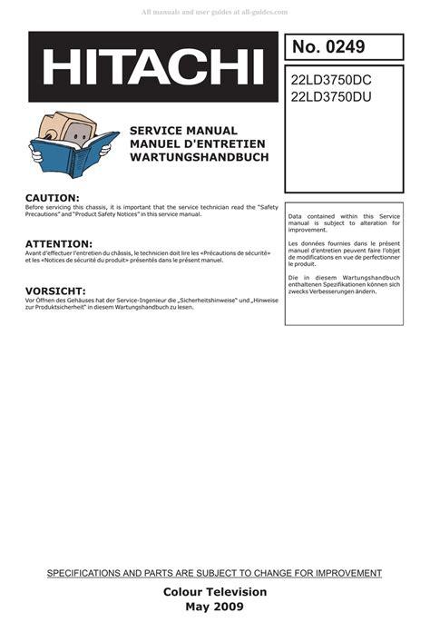 Hitachi 22ld3750dc 22ld3750du Service Manual