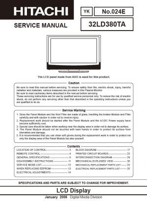 Hitachi 32ld380ta Tv Service Manual