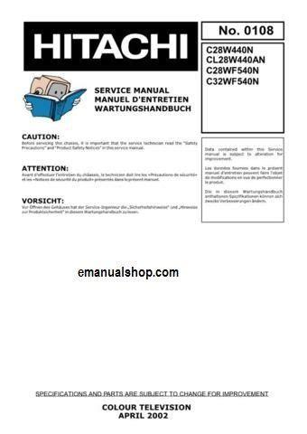 Hitachi C32w1tn Colour Television Repair Manual