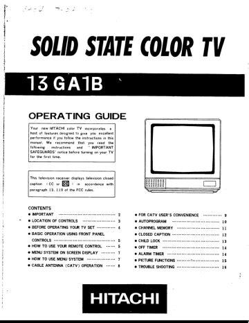 Hitachi Crt Tv User Manual
