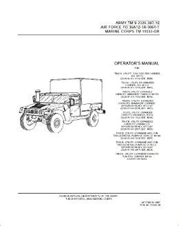 Hmmwv M1165 Operators Manual