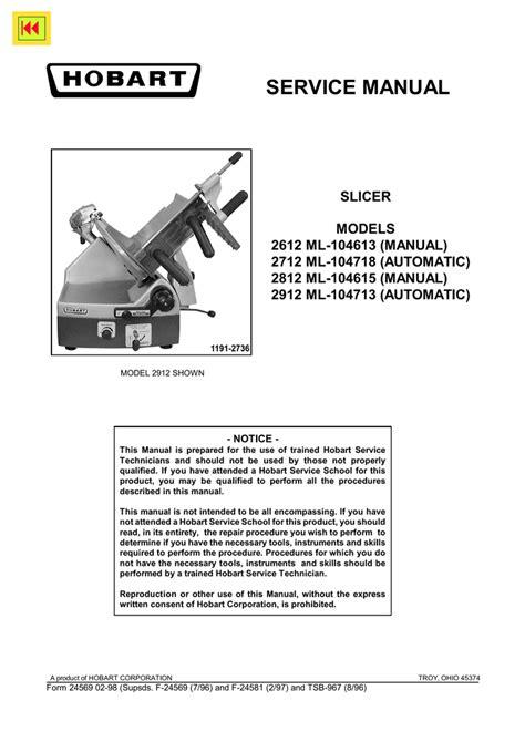 Hobart Service Manual For Sale