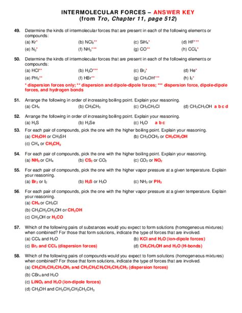 Holt Chemistry Intermolecular Forces Answer Key