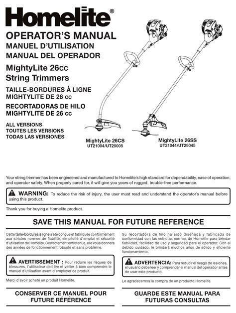 Homelite Model 26ss Manual